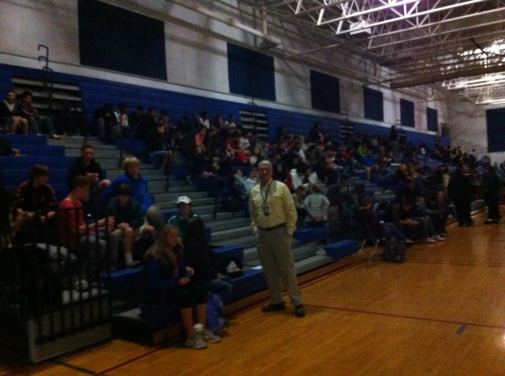 Students and staff waiting in the gym until power resumes