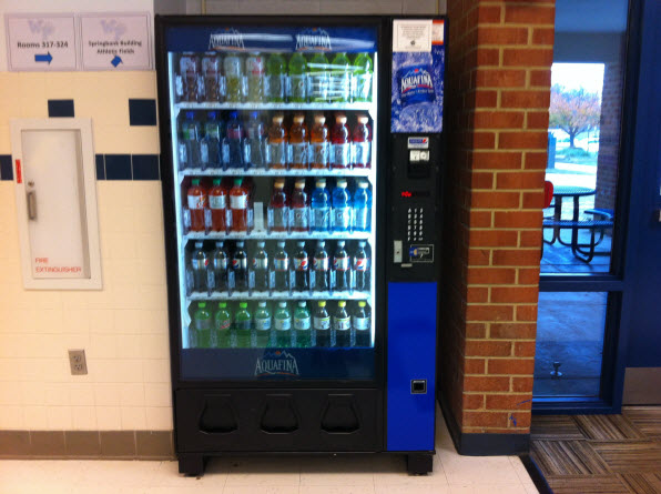 One of the new drink machines, stocked with diet sodas, flavored waters, and juices