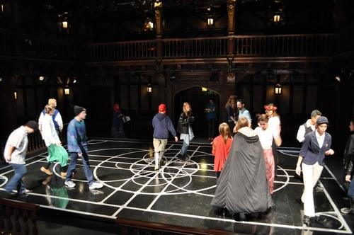 The Witty Fools do a final blocking walkthough on the Folger stage before the Festival begins.