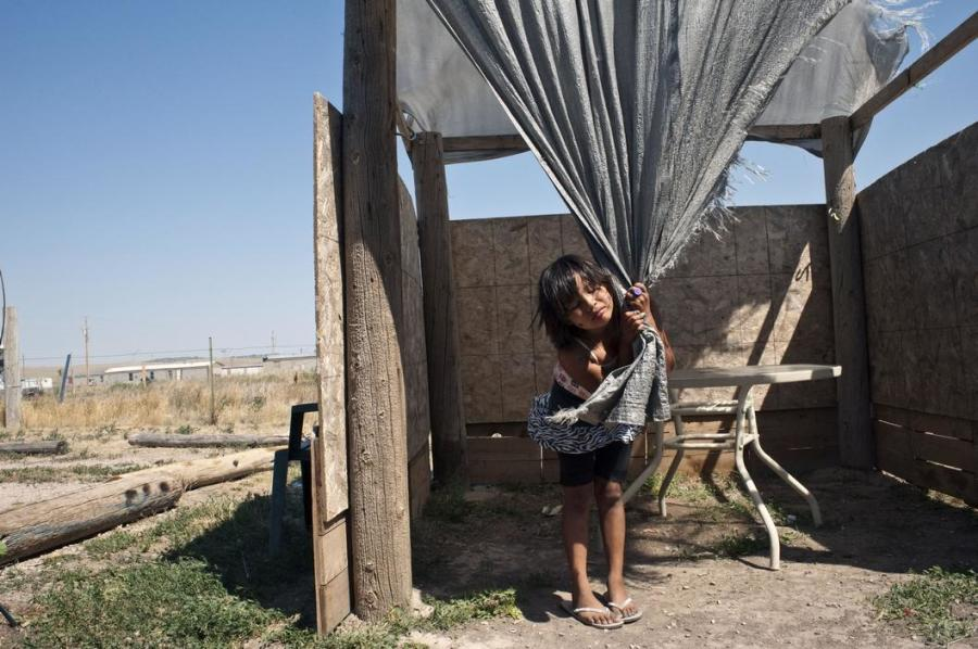 Eight-year-old Christina Boils, Pine Ridge Indian Reservation, Oglala, South Dakota.