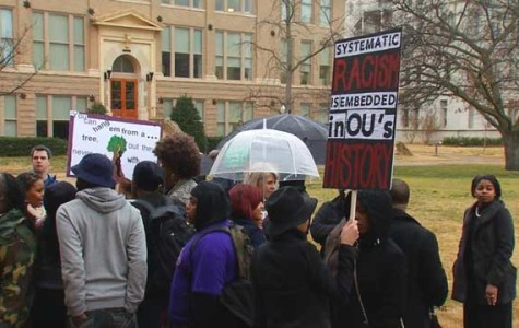 Students at University of Oklahoma Protesting Recent Racist Sigma Alpha Epsilon Video. Photo courtesy of news9.com