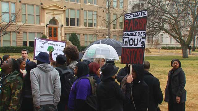 Students+at+University+of+Oklahoma+Protesting+Recent+Racist+Sigma+Alpha+Epsilon+Video.+Photo+courtesy+of+news9.com