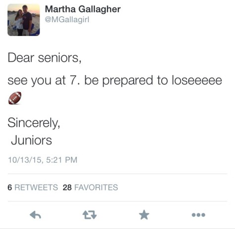 Junior class president, Martha Gallagher, gets in on the beef with this letter to the seniors.