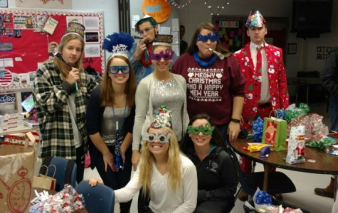 Ms. Borghard's leadership class celebrating the last school day and spirit day of 2015.