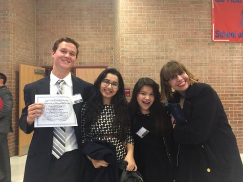 From left to right: senior Jake Hardison, junior Shahtaj Ali, junior Nina Raneses and senior Gwendolyn Ghiloni. They were the first delegates from West Potomac to receive recognition at a conference.