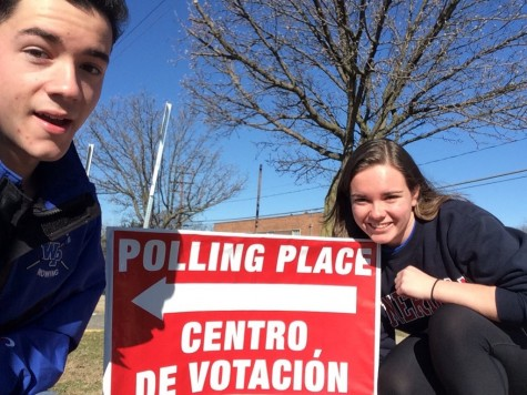 Seniors Owen Albrecht and Alina Selnick took advantage of the nice weather and walked to their polling place.
