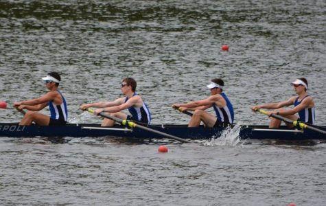 (Courtesy Jonathan Middleton) West Potomac Crew's men's JV4 boat. From left to right: Kyle White, Logan Lynch, Jonathan Middleton and Reece Hagler.