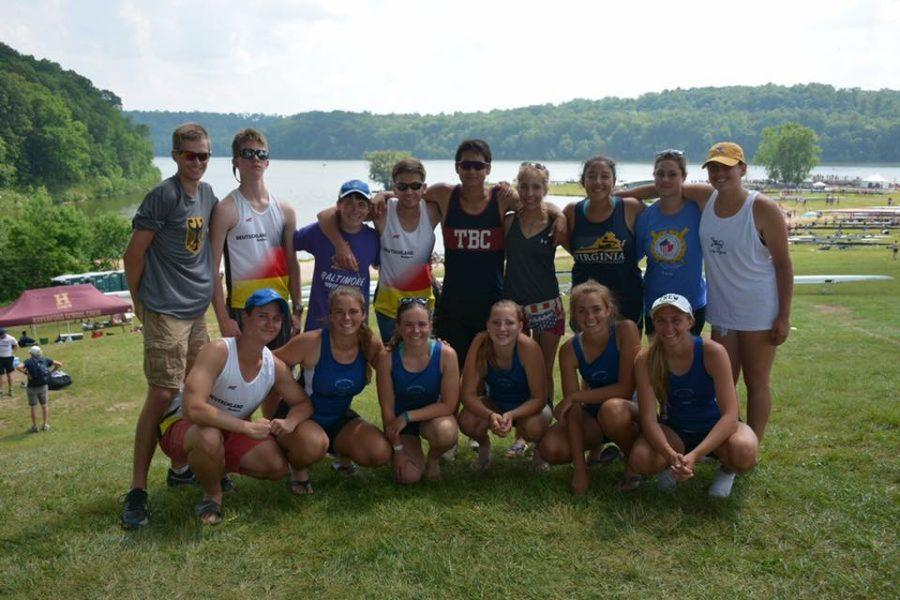 (Courtesy West Potomac Crew) The women's JV4+ and 1V4+ boats along with other West Potomac rowers. The men's JV4+ competed as well, but did not make it to the finals.