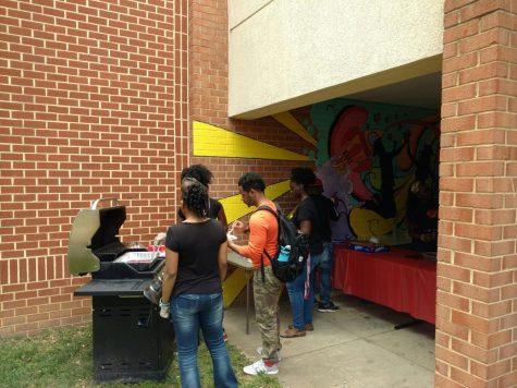 Students prepare food.