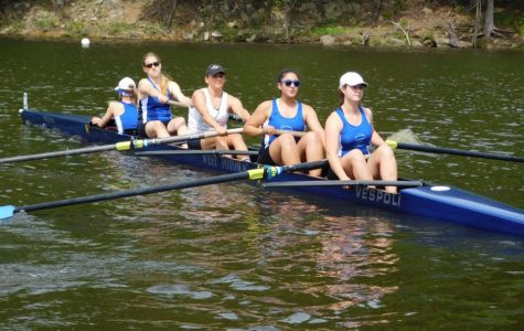 (Courtesy Alina Selnick) Women's JV4+ boat. From left to right: Rachael Brautigam, Juliette Burcham, Liz Brodie, Natalie Lorca and Rachel Hardison.