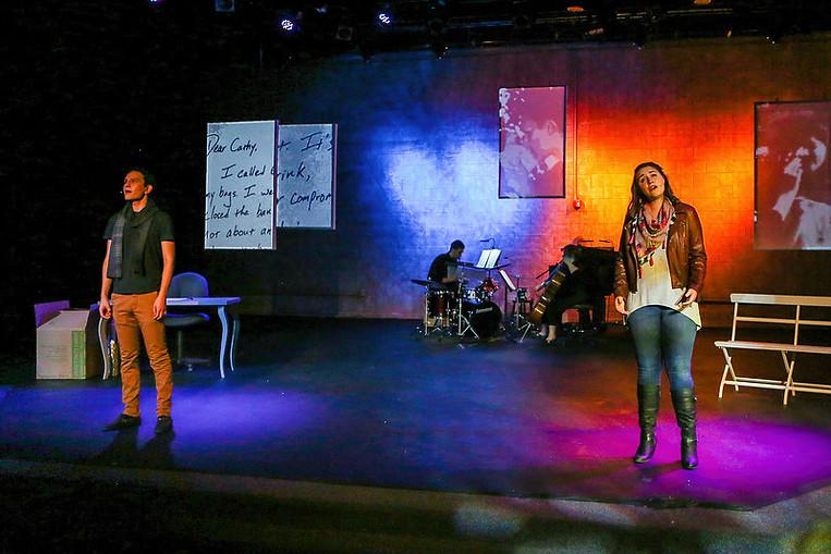 Jarzen and Hanton preform as Jamie and Cathy. (Image courtesy Beyond the Page Theatre Company)