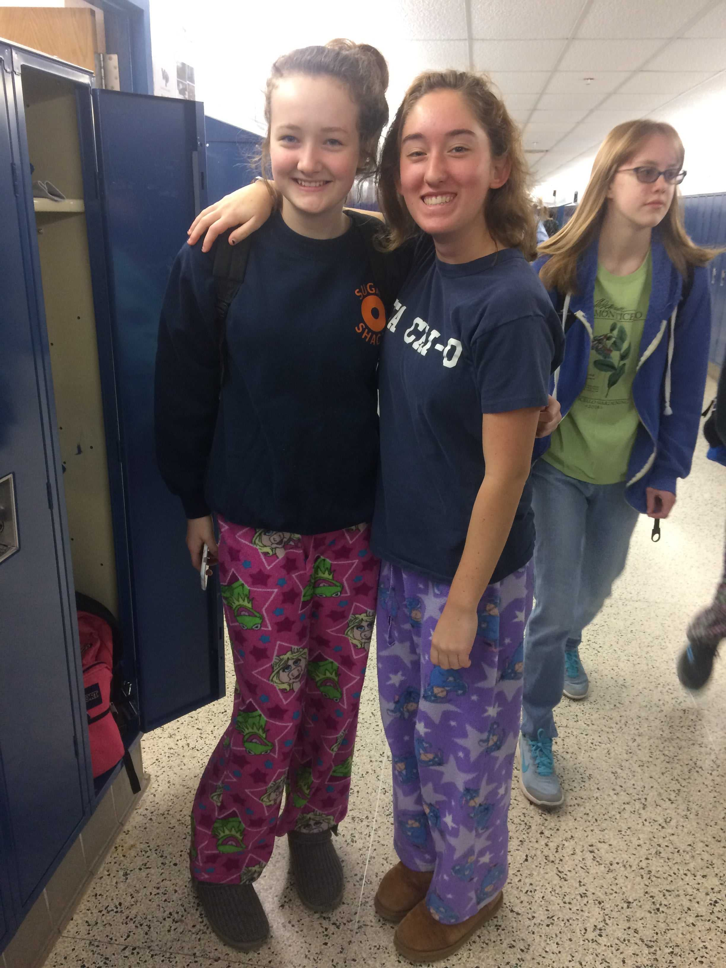 Pajama+Day%3A+Grace+O%27Donnell+%28Freshman%29%2C+Julia+Helal+%28Sophomore%29+