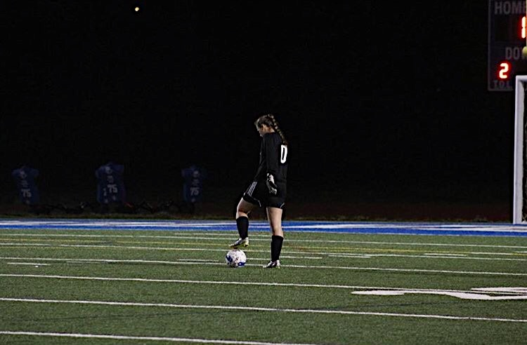 Goalkeeper Lindsay Freewalt during a West Potomac 2016 soccer season game