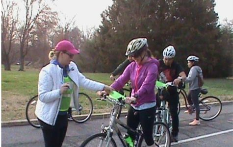 Bikers line up to compete in the Bike-a-Thon.