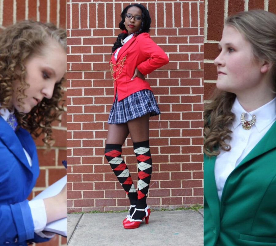 The cast of Heathers, posing for their promotions of the show, which you can find on Instagram. Kendall Grady, Abigail Aziz, Christine O'Hara. (Left to Right)
