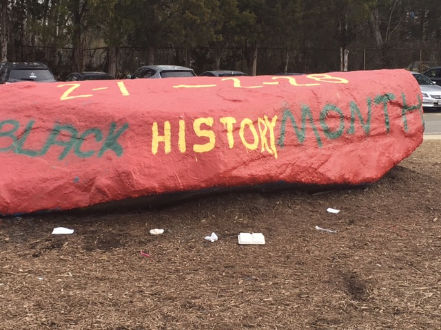 The+rock+was+painted+to+mark+the+beginning+of+Black+History+Month+by+BSU.+
