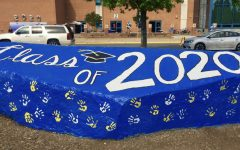 The famous rock in front of the school was painted for the graduation