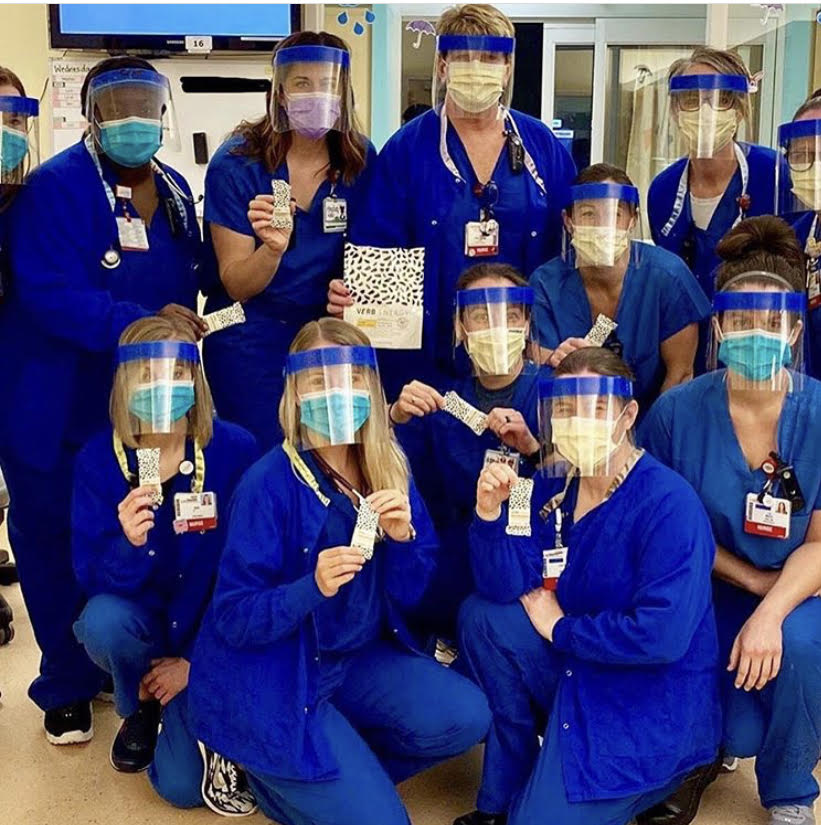 Verb bars distributed to healthcare workers on the front lines. Photo was sent in to #verblove on Instagram.