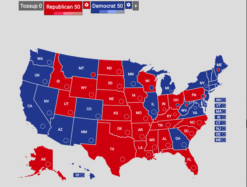 Map+shows+the+US+Senate+composition+for+the+first+two+years+of+Joe+Biden%27s+presidency.+%28Map+made+with+yapms.com%29