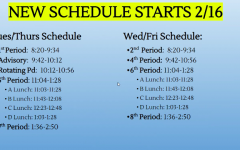 Bell schedule beginning on Tuesday, February 16.