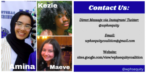 Photo of Amina Iman, Maeve Korengold, and Kezie Osei, along with contact information for The Equity Coalition.